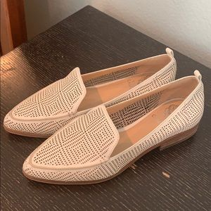 Vince Camuto white laser cut loafers